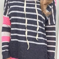 Casual Style Hooded Long Sleeve Black and White Stripe Colorful Hoodie