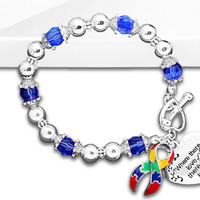 Autism and Aspergers Awareness Ribbon Bracelet - Where There Is Love in a Gift Box