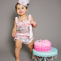 Baby Girl's 1st Birthday Outfit, Girls Birthday Outfit, Petti Lace Romper Set, OTT Hair Bow with Matching Petti Romper