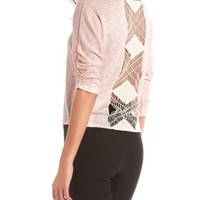 Crochet Back Marled Hacci Top: Charlotte Russe