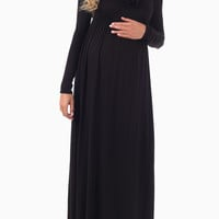 Black Cowl Neck Long Sleeve Maternity Maxi Dress
