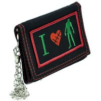 I Love Zombies Heart Tri-fold Wallet w/ Chain Occult Clothing