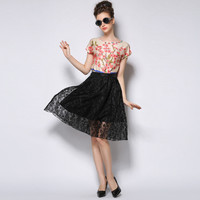 Lace And Mesh A-Line Skirt