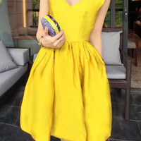 Yellow V-Neck Satin Pleated Midi Dress