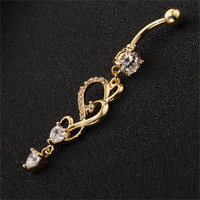 Crystal Belly Button Rings Heart Long Pendientes Body Chain
