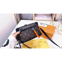 8-21【NEW】LV Louis Vuitton Mini Soft Trunk handbag Old flower canvas spell orange resin chain M44480 with box