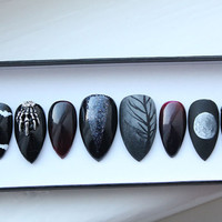 Witch Goth Press on Nails | Occult | Skeleton | Moon Phase | Witchy | Handpainted Nail Art | Glue On Nails | Any Shape and Size
