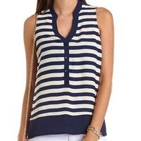 Striped Button-Down Top: Charlotte Russe