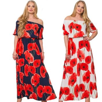 poppies Plus Size white Maxi Dress Loose Long Summer Style Clothing multiple styles/colors red blue purple off the shoulder