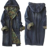 Denim Hooded Camouflage Lined Jacket