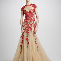Embroidered Tulle Ballgown