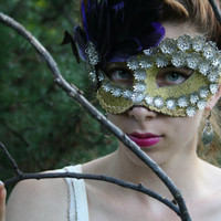 Gold Masquerade Ball Mask Gold Masquerade mask Gold halloween mask fairy mask mardi gras mask purple feather gold mask bridal mask JUNO