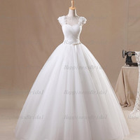 Custom Ball gown Cap Sleeves Floor-length Tulle Sash Flowers White Long Wedding Dresses Prom Dresses Formal Dresses Evening Dresses 2014
