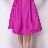 Hot Pink Belted Midi Skirt