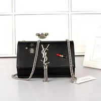 LMFONJ. Yves Saint Laurent YSL' Personality Fashion Tassel Metal Chain Single Shoulder Messenger Bag Women Flip Small Square Bag