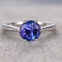 7mm Round Blue Tanzanite Engagement Ring 14K White Gold Wedding Ring 6-Claw Prong