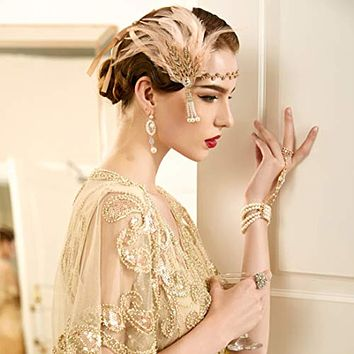 !920's Flapper Great Gatsby Inspired Leaf Medallion Pearl Feather Headband