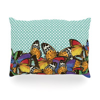 "Suzanne Carter ""Butterfly Polka"" Teal Multicolor Oblong Pillow"