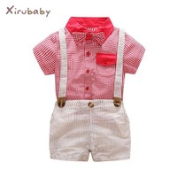 Xirubaby summer newborn boy clothes baby boys clothing sets tie red shirts+overalls 2pcs gentleman suit infant party clothing