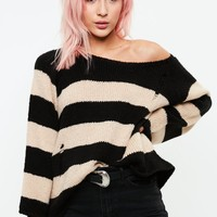 Missguided - Black Grunge Knitted Stripe Sweater