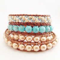 Summer Sky Leather Wrap Bracelet- Beaded Leather Wrap Bracelets