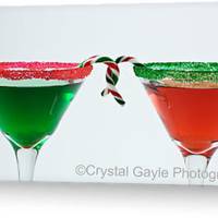 Christmas Martini Cocktail Greeting Card Fine art photography bright red emerald green candy canes rimming sugar
