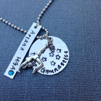 Personalized Gymnastics Necklace, Handstamped Necklace, Tumbling, Acrobatics, Dance, by 3sisterscollections