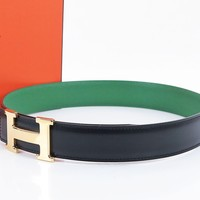 Authentic HERMES Black and Green Leather Belt with Goldtone H Buckle #30791