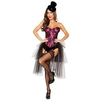 Sexy La La Land Lace-Up Bow Corset Dress Outfit with Detachable Layered Skirt