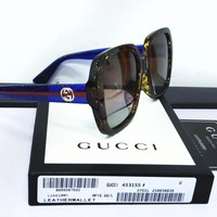 Gucci Fashion New Shades Eyeglasses Sunscreen Couple Leisure Stripe Sunglasses Glasses
