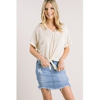 Beverly Ribbed Tie Front Top
