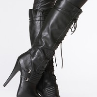 Qupid Black Lace Up Platform Stiletto Knee High Boot @ Cicihot Boots Catalog:women's winter boots,leather thigh high boots,black platform knee high boots,over the knee boots,Go Go boots,cowgirl boots,gladiator boots,womens dress boots,skirt boots.