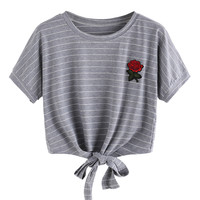 Gray Stripe Embroidery Rose Tie Front Short Sleeve T-shirt