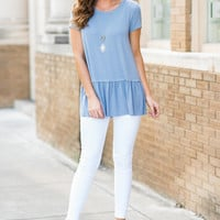 Run To Ruffles Top, Light Indigo