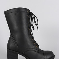 Wild Diva Lounge Chunky Heel Combat Lace Up Boots
