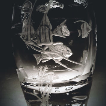 Coral Fish Hand Engraved Vase