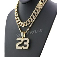 Hip Hop Quavo MJ 23 Miami Cuban Choker Chain Tennis Necklace L23