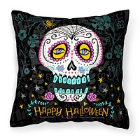 Happy Halloween Day of the Dead Fabric Decorative Pillow VHA3035PW1414