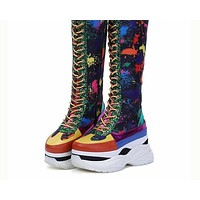 Women Multi-Color Printed Knee High Platform Fashion Sneakers