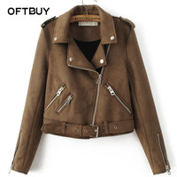 OFTBUY Women basic coats 2017 streestyle spring brown lapel Epaulet Zippers Sashes Suede motorcycle faux leather Jacket women