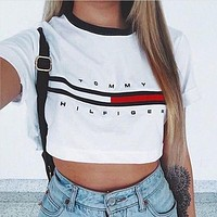 Women's Fashion Hot Sale Alphabet Print Crop Shirt Top Tee
