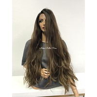 Brown Balayage Swiss wig 30"