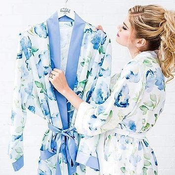 Blue Watercolor Floral Silky Kimono Robe on Blue 1XL - 2XL (Pack of 1)