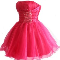Faironly Zm3 Homecoming Mini Party Cocktail Dress (M, Hot - Pink)