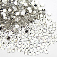 Super Shiny 1440PCS SS3 1.3-1.4mm Flat back 3SS Clear Glitter Non Hotfix Glue Fixed Crystal Color Nail Art Flatback Rhinestones