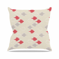 "Gukuuki ""Mayan Fish"" Beige Magenta Throw Pillow"