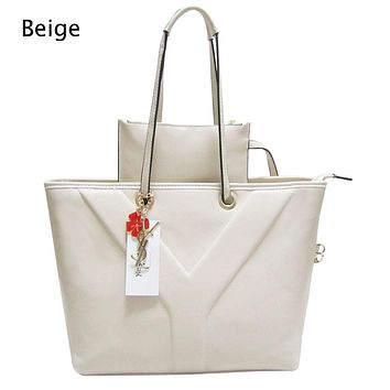 YSL 2018 tide brand fashion casual personality atmosphere simple female bag two-piece Beige