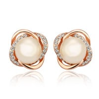 Double Crosee Rose Gold Plated Pearl Stud Earring
