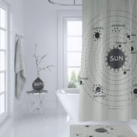 Solar System Map Shower Curtain - Vintage Astronomy, Home Decor - Bathroom - space travel,  beige and black
