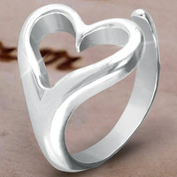 Open Heart Ring in Sterling Silver Plating